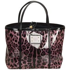 Dolce&Gabbana Purple Leopard Printed Tote