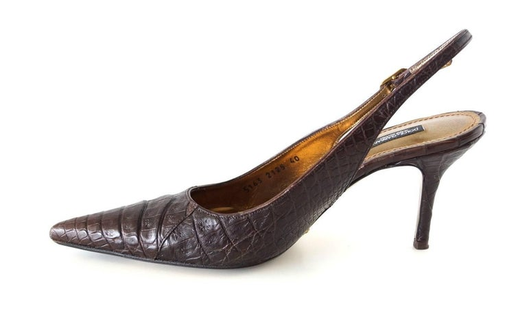 Guaranteed authentic Dolce&Gabbana signature slingback in rich dark brown crocodile. Perfect size heel covered in crocodile. You will keep these forever. final sale  SIZE 40 USA SIZE 10 - fits 9  SHOE MEASURES: HEEL  3.5