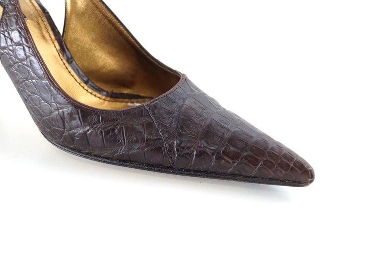 Black Dolce&Gabbana Shoe Signature Slingback Brown Crocodile 40 10 fits 9 For Sale