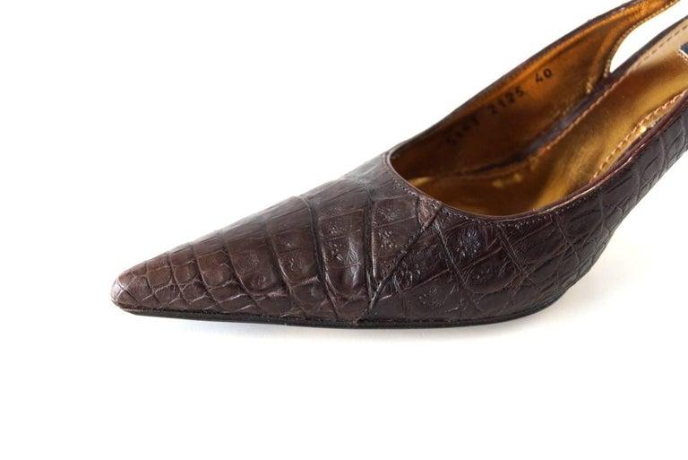 Dolce&Gabbana Shoe Signature Slingback Brown Crocodile 40 10 fits 9 In Excellent Condition For Sale In Miami, FL