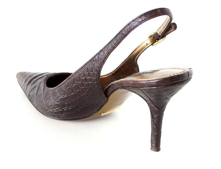 Women's Dolce&Gabbana Shoe Signature Slingback Brown Crocodile 40 10 fits 9 For Sale