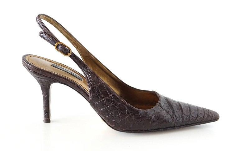 Dolce&Gabbana Shoe Signature Slingback Brown Crocodile 40 10 fits 9 For Sale 1