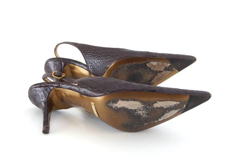 Dolce&Gabbana Shoe Signature Slingback Brown Crocodile 40 10 fits 9 For Sale 3