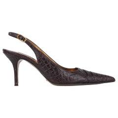 Dolce&Gabbana Shoe Signature Slingback Brown Crocodile 40 / 10 fits 9