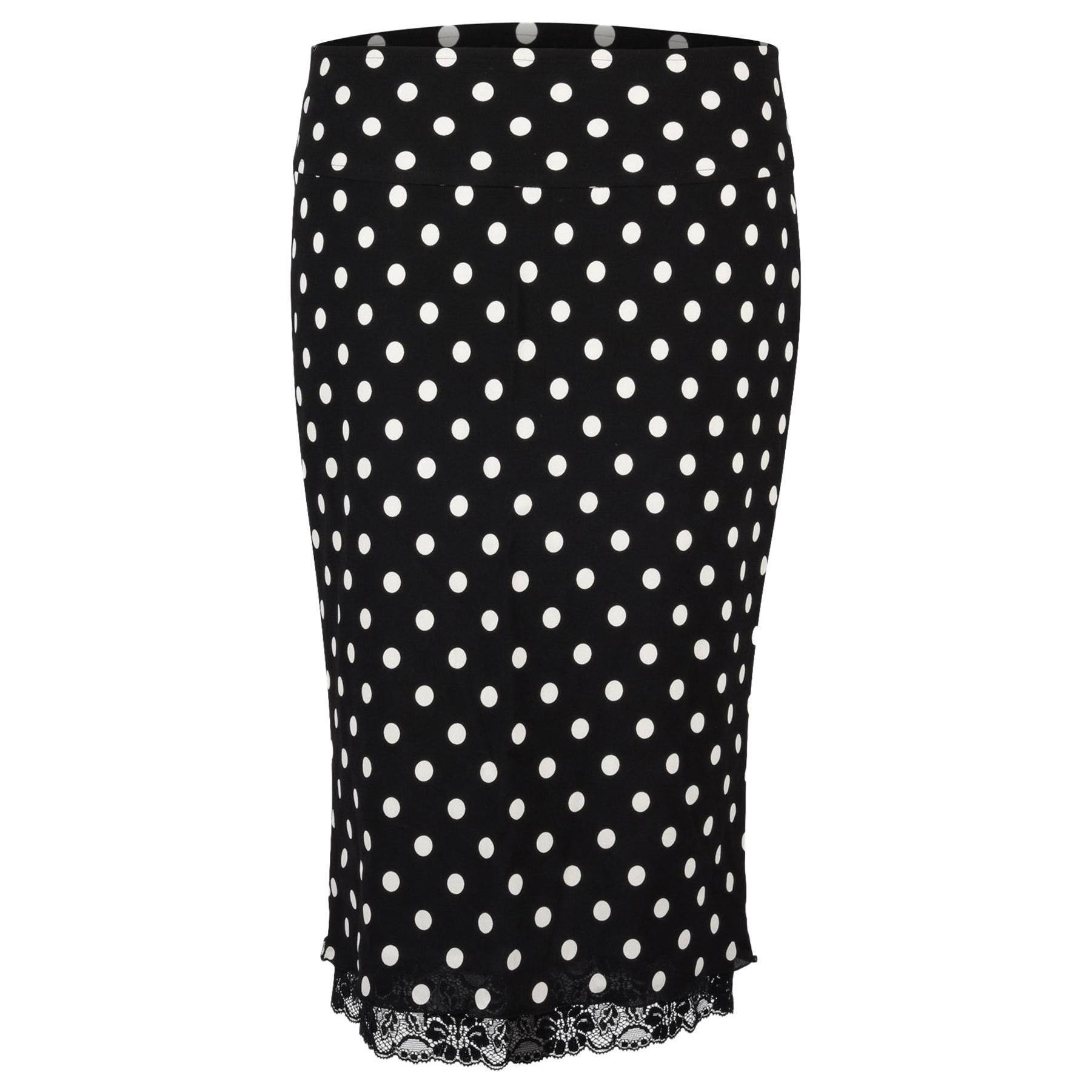 Dolce&Gabbana Skirt Polka Dot Lace Trim Stretch Pencil 38 / 4