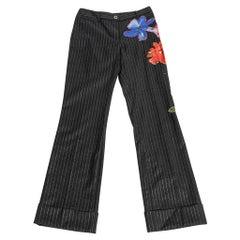 Dolce&Gabbana Vintage Pant Grey w/ Metallic Silver Pin Stripe Floral Applique 4