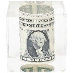 Dollar Bill Lucite Sculpture Or Paperweight Vintage