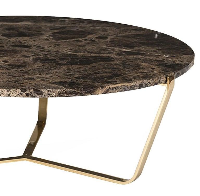 Italian Dolomiti Emperador Marble Low Coffee Table For Sale