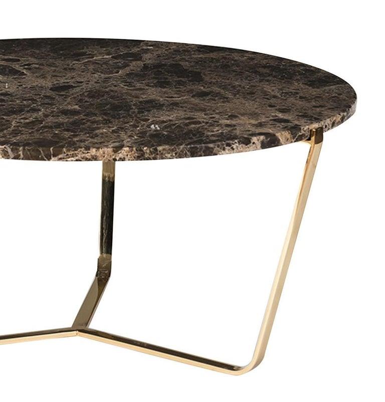 Italian Dolomiti Emperador Marble Tall Coffee Table For Sale