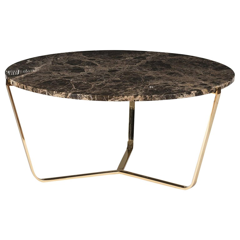 Dolomiti Emperador Marble Tall Coffee Table For Sale