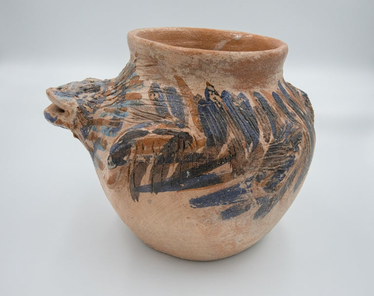 Folk Art Dolores Porras Mexican Antique Rustic Vase Iguana Clay Made in Oaxaca, 2006 For Sale
