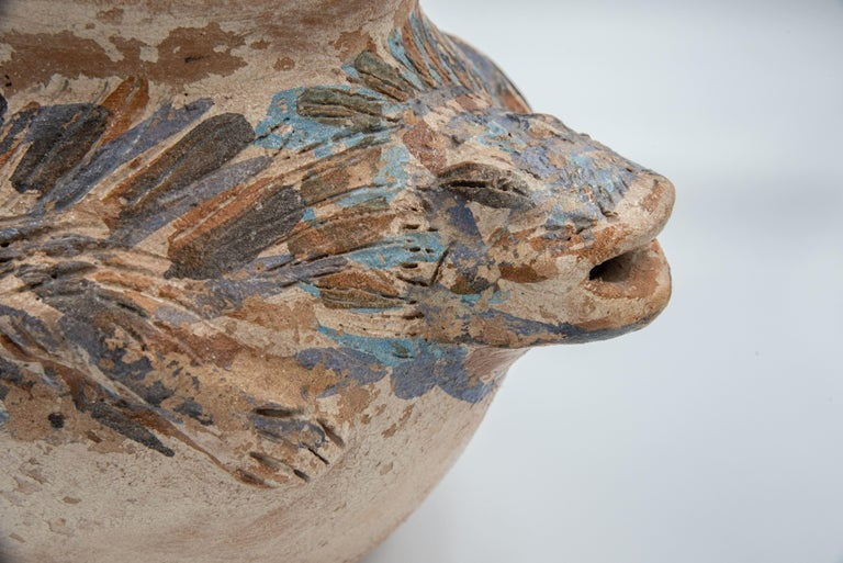 Hand-Crafted Dolores Porras Mexican Antique Rustic Vase Iguana Clay Made in Oaxaca, 2006 For Sale