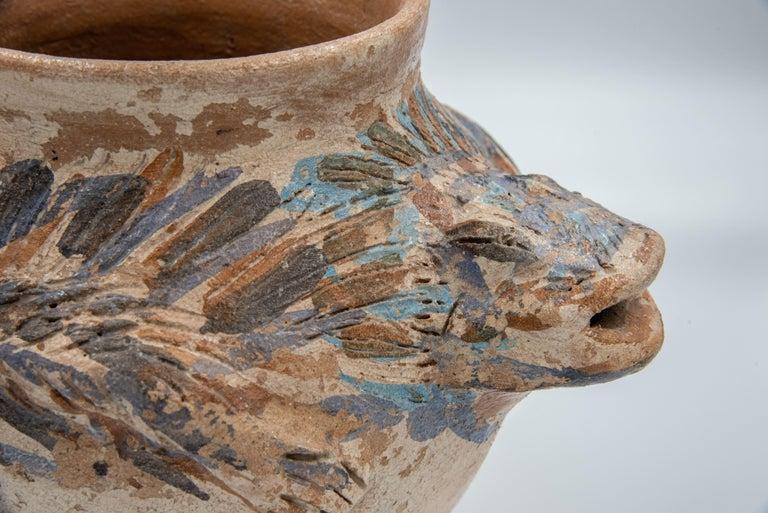 Dolores Porras Mexican Antique Rustic Vase Iguana Clay Made in Oaxaca, 2006 In Good Condition For Sale In Queretaro, Queretaro