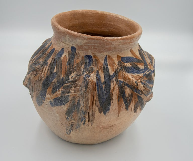 Contemporary Dolores Porras Mexican Antique Rustic Vase Iguana Clay Made in Oaxaca, 2006 For Sale