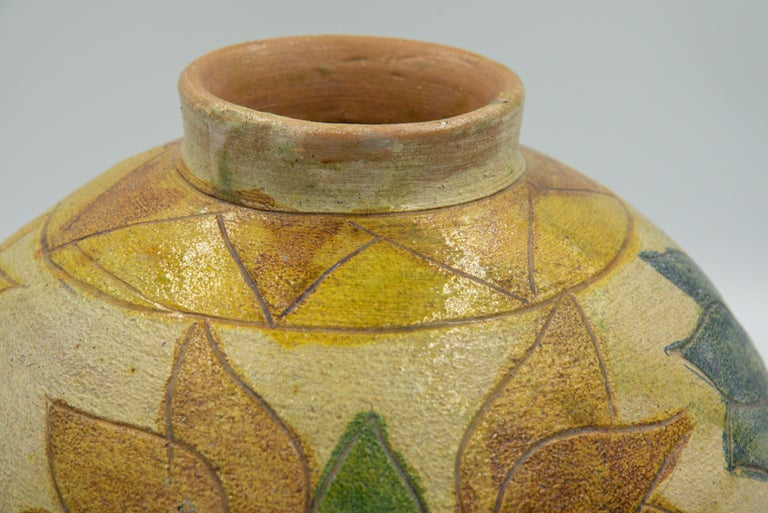 Folk Art Dolores Porras Mexican Antique Rustic Vase Terracotta Clay Handmade in Oaxaca For Sale