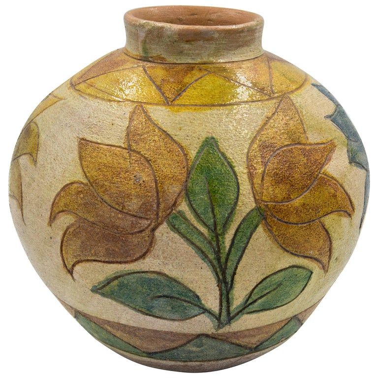 Dolores Porras Mexican Antique Rustic Vase Terracotta Clay Handmade in Oaxaca For Sale