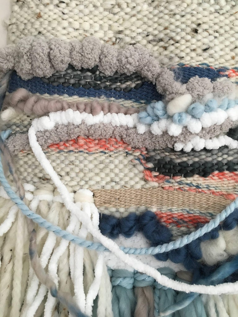 Cotton, Merino and Alpaca wool hand weaving, fiber art, yarn, wall sculpture, wall hanging, chic, boho, contemporary, interior design, interior decor, decoration   ARTIST BIO: Dolores Tema studied design at Parsons School of Design in New York City,