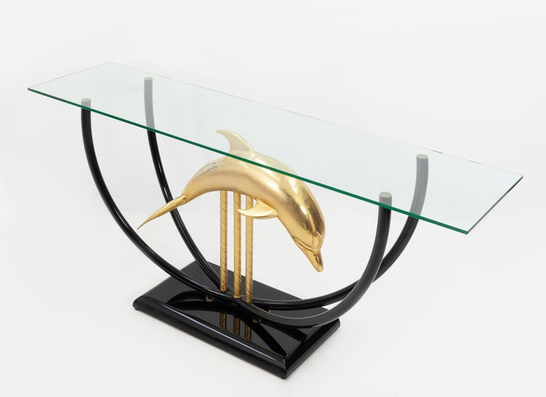 Italian Dolphin Console Table Hollywood Regency, 1970s For Sale