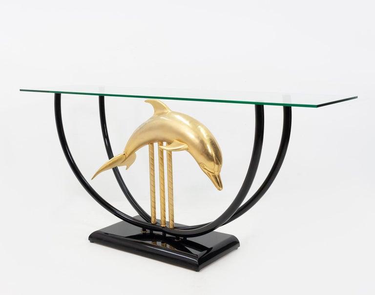 Dolphin Console Table Hollywood Regency, 1970s In Good Condition For Sale In Den Haag, NL
