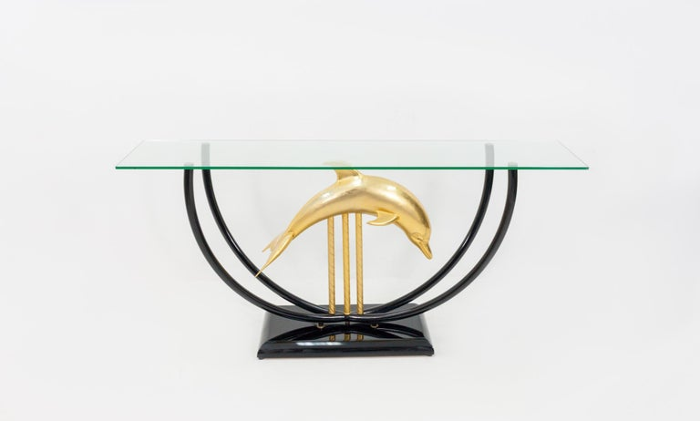 Late 20th Century Dolphin Console Table Hollywood Regency, 1970s For Sale