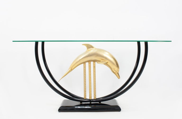 Brass Dolphin Console Table Hollywood Regency, 1970s For Sale