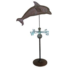 Dolphin Copper Weathervane on Iron Base