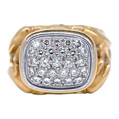 Dolphin Diamond, Pave Unisex Band Ring, .55 Carat, Heavy Gold