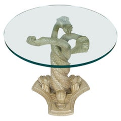 Dolphin Form Carved Table Base with Glass Top