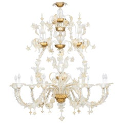 Dolphin Rezzonico Chandelier in Murano Glass Gold Finishes, 1980s, Italy