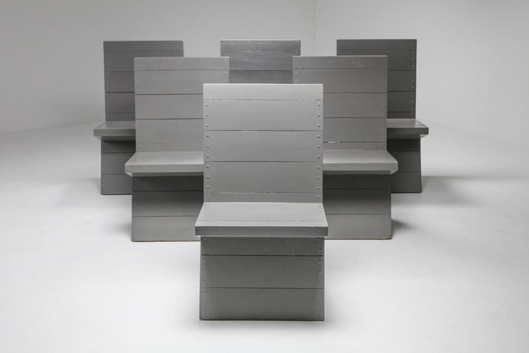 Chair by Dom Hans van der Laan, Netherlands, 1960s.  The chair was designed by the Dutch Benedictine monk and architect, Dom Hans van der Laan for the Abbey Church of St. Benedictusberg, near the town of Vaals (The Netherlands). Made out of
