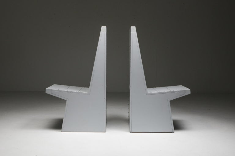 Bossche school, pair of chairs, Jan de Jong, Dom Hans van der Laan, Netherlands    They are made of pine wood and feature copper nails, giving these pieces an understated, rustic look. The pair is entirely painted grey, including the nails. This