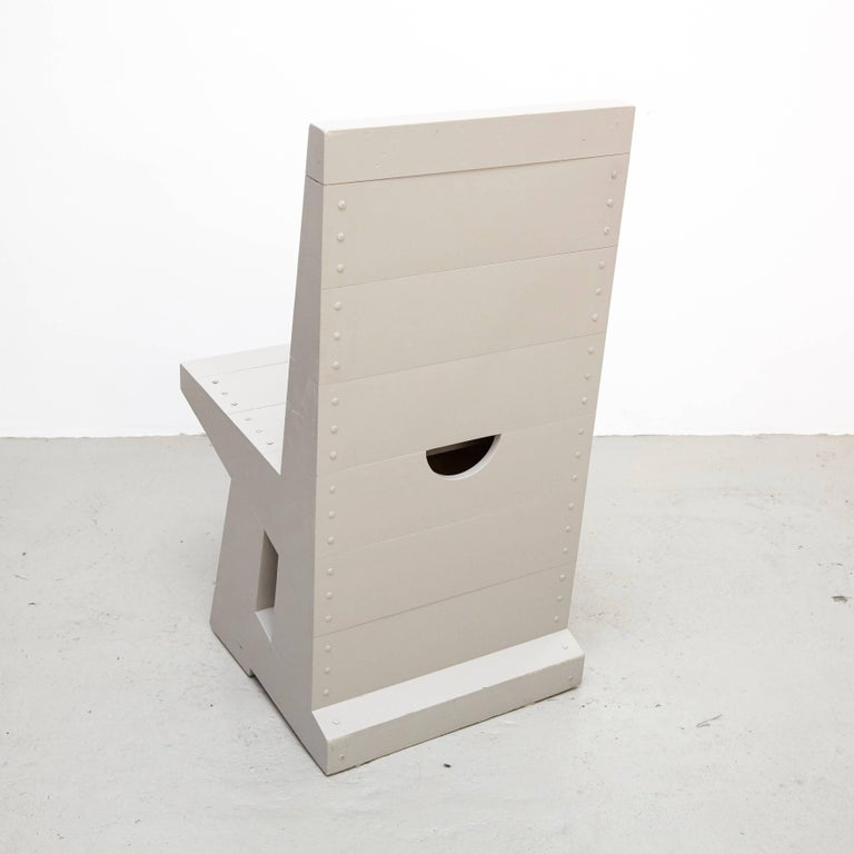Dutch Dom Hans van der Laan Grey Pair of Easy Chairs For Sale