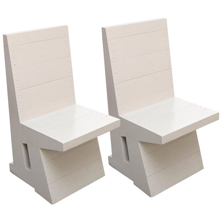 Dom Hans van der Laan Grey Pair of Easy Chairs For Sale