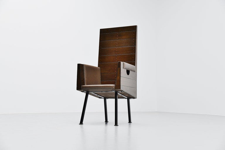 Steel Dom Hans van der Laan High Chair for Town Hall Budel, 1966 For Sale