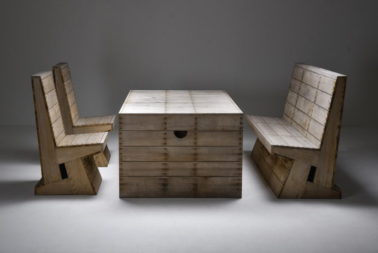 Dom Hans van der Laan, Jan de Jong, Bossche school, outdoor dining set, Netherlands, 1970s.  Rare set in cedar consisting of a table, bench and two chairs, designed by Dom Hans van der Laan and executed by Jan de Jong for a private residence 1970s