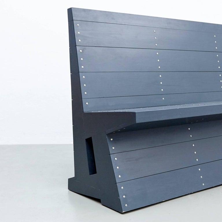 Dom Hans van der Laan Mid-Century Modern Lacquered Blue Rationalist Bench For Sale 4