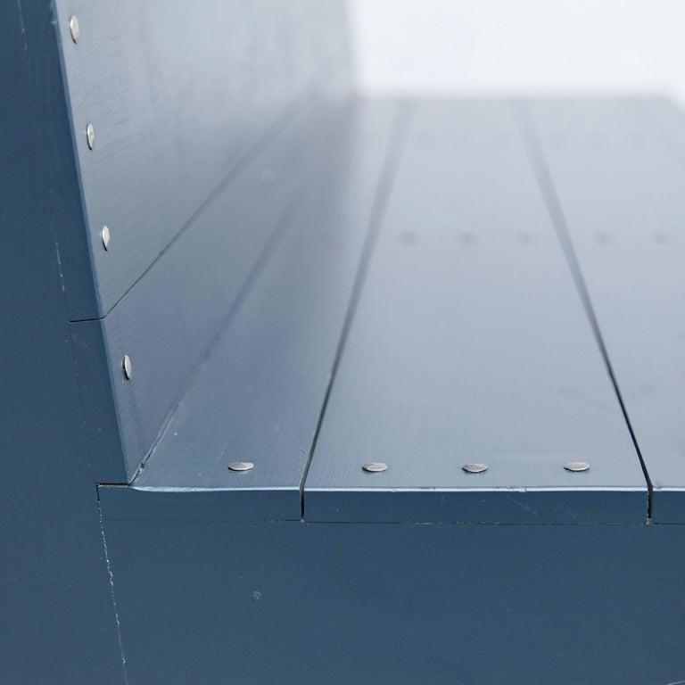 Dom Hans van der Laan Mid-Century Modern Lacquered Blue Rationalist Bench For Sale 5