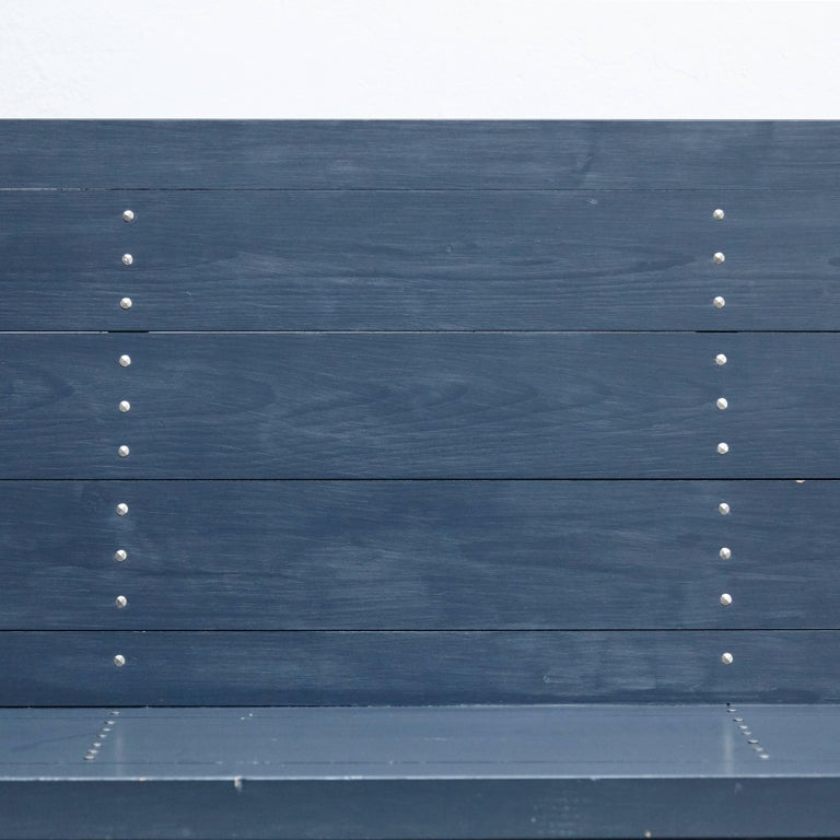 Dom Hans van der Laan Mid-Century Modern Lacquered Blue Rationalist Bench For Sale 7