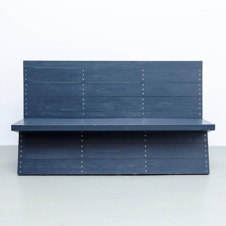 Dutch Dom Hans van der Laan Mid-Century Modern Lacquered Blue Rationalist Bench For Sale