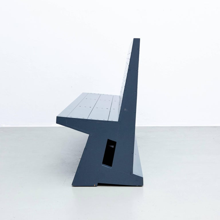 Late 20th Century Dom Hans van der Laan Mid-Century Modern Lacquered Blue Rationalist Bench For Sale