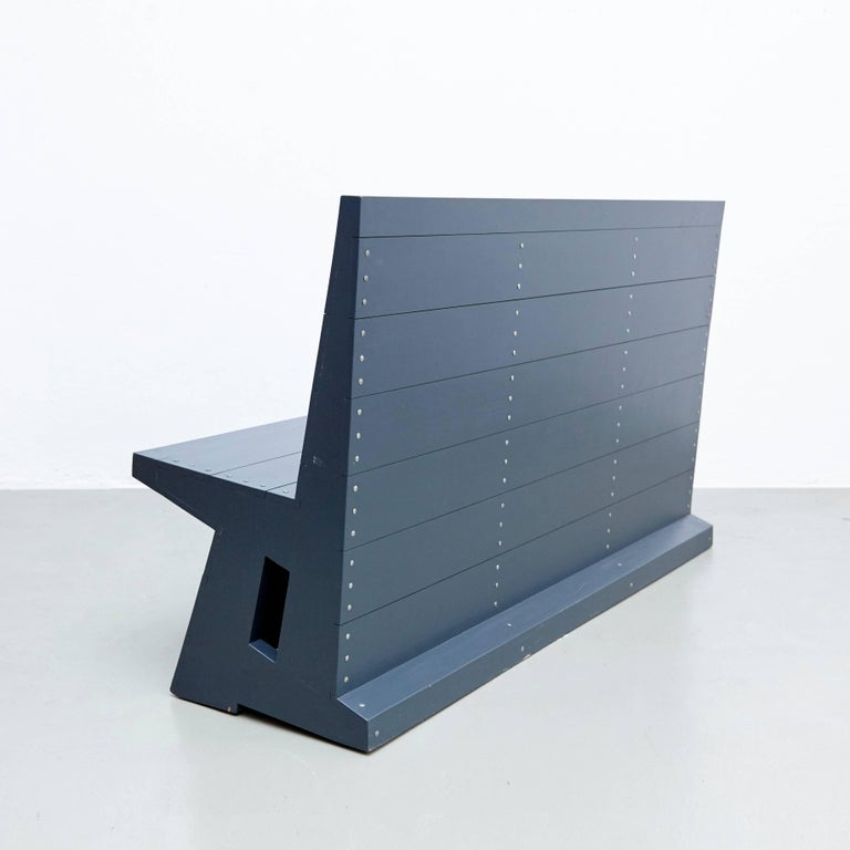 Wood Dom Hans van der Laan Mid-Century Modern Lacquered Blue Rationalist Bench For Sale