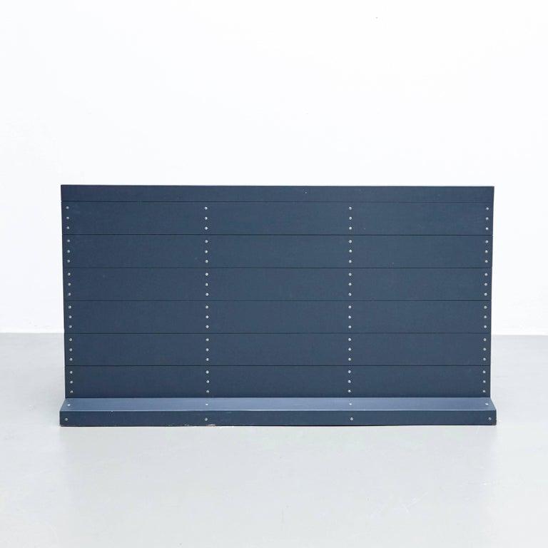 Dom Hans van der Laan Mid-Century Modern Lacquered Blue Rationalist Bench For Sale 1
