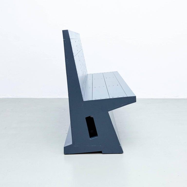 Dom Hans van der Laan Mid-Century Modern Lacquered Blue Rationalist Bench For Sale 3