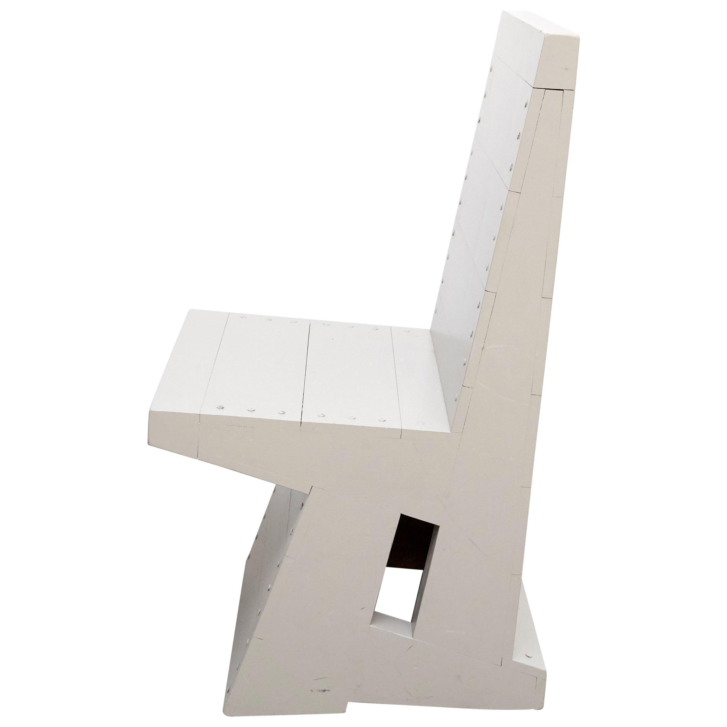 Dom Hans van der Laan Rationalist Wood Grey Easy Chair, circa 1980