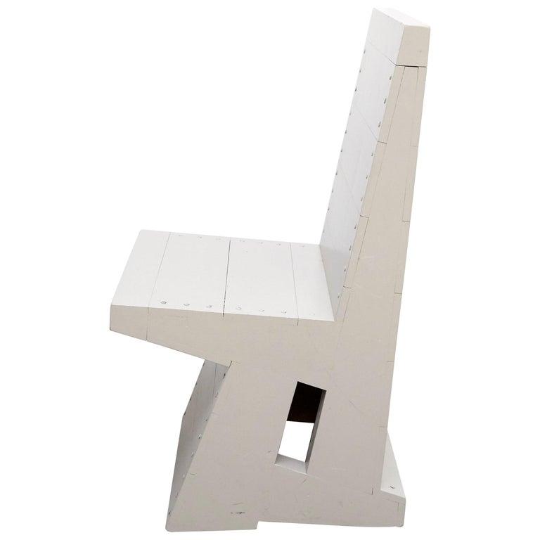 Dom Hans van der Laan Rationalist Wood Grey Easy Chair, circa 1980 For Sale