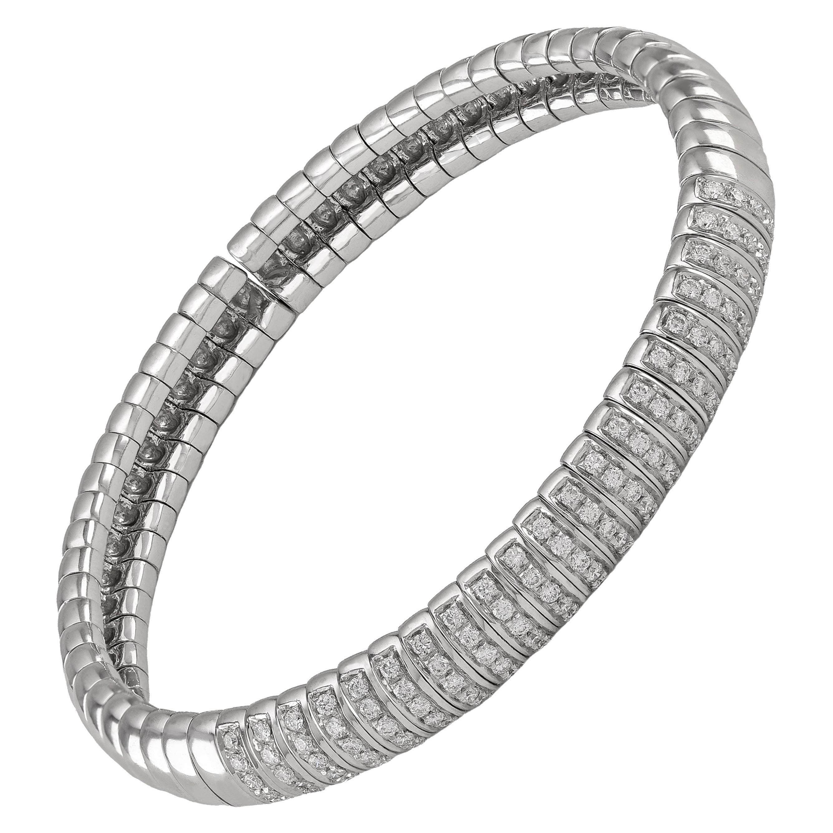 Dome 1.25 Carat Diamond Flexible Cuff Bangle Bracelet