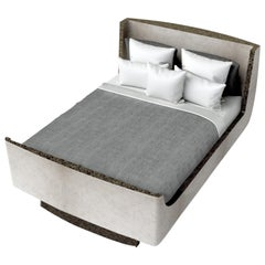 Dome Bed in Cream Shagreen and Bronze-Patina Brass by Kifu, Paris