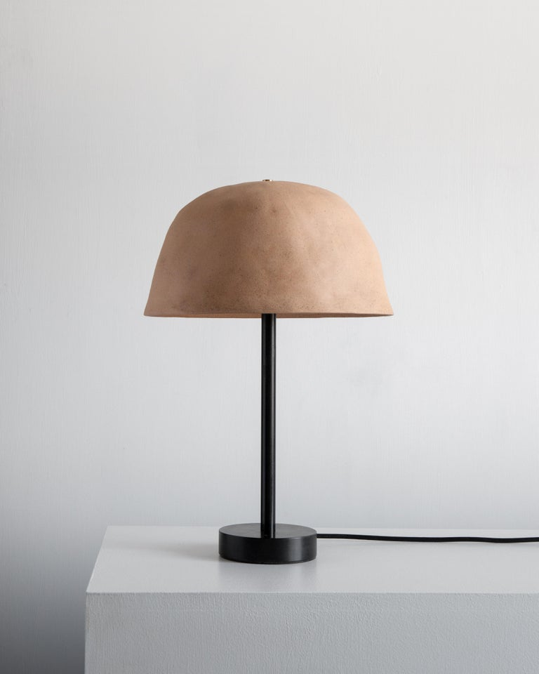 Modern Dome Ceramic Table Lamp with Tan or Terracotta Shade For Sale