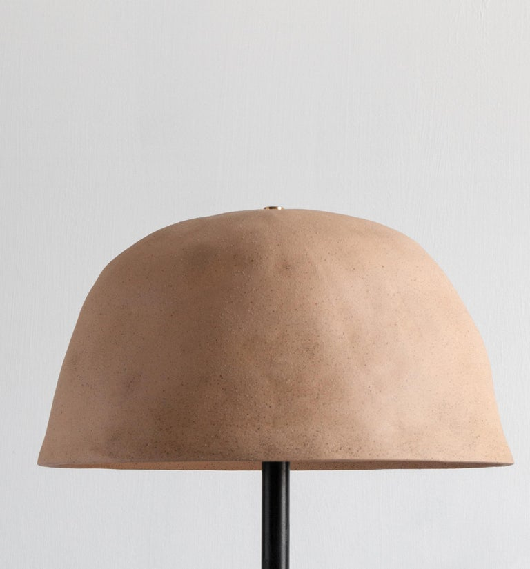 American Dome Ceramic Table Lamp with Tan or Terracotta Shade For Sale