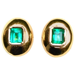 Dome Earrings Colombian Emerald 18 Karat Gold